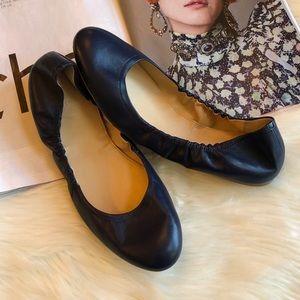 J. Crew Emma Navy Blue Leather Ballet Flats 9.5